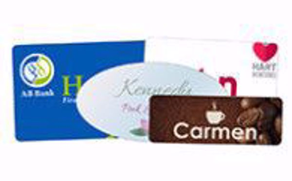 "Picture of White Aluminum Gloss Name Badge w/ Round Corners 2"" x 3"""